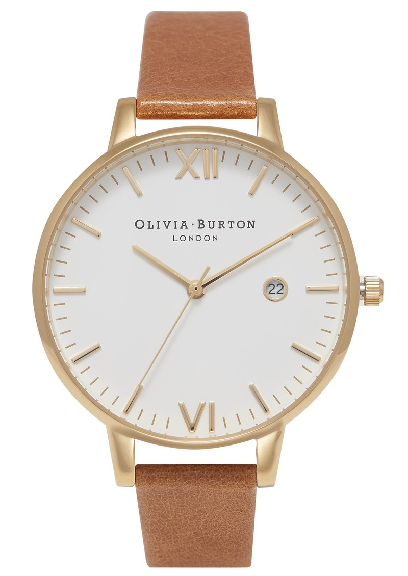 Timeless White Dial Watch - Tan & Gold main image
