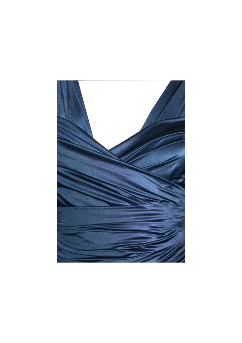 Long Satin Ball Gown - Navy main image