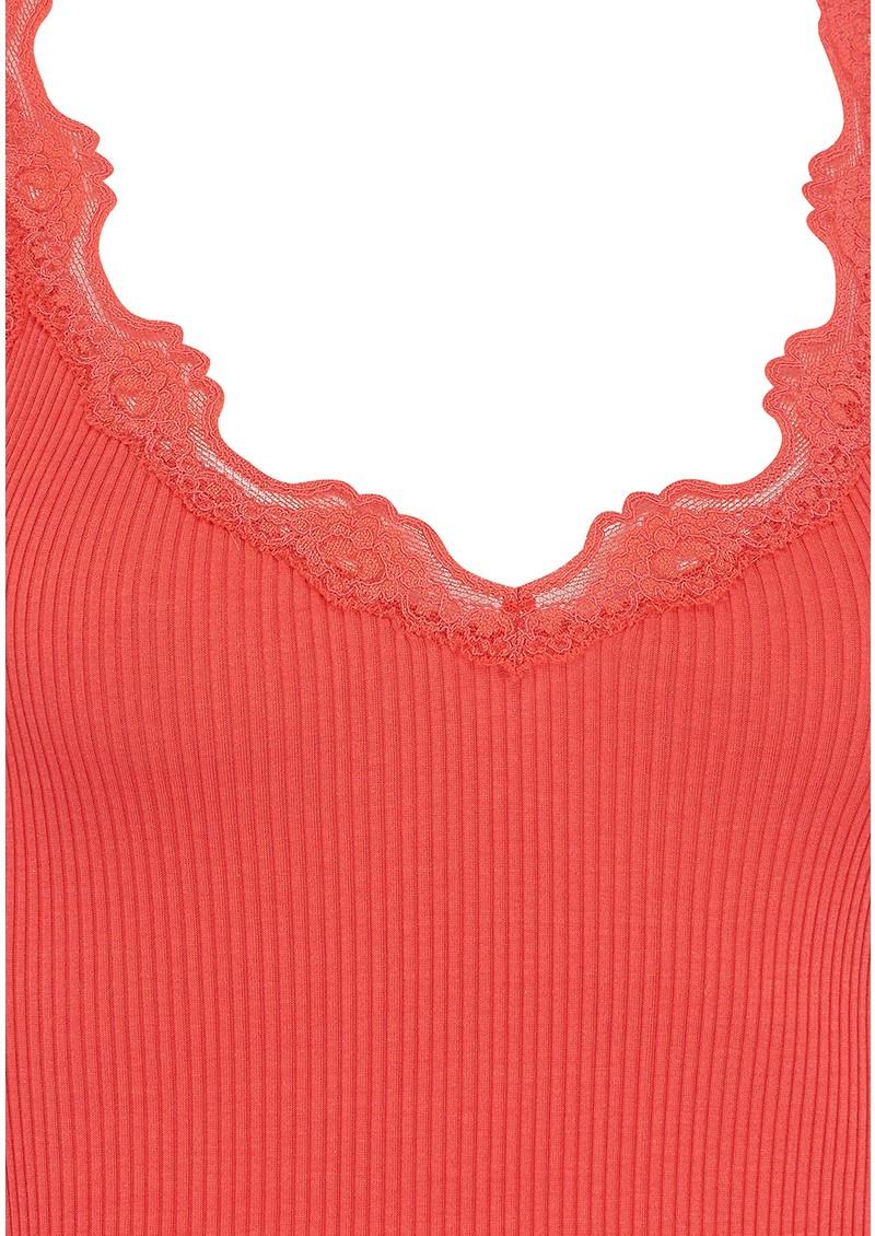 Rosemunde Silk Top with V Neck - Cayenne main image