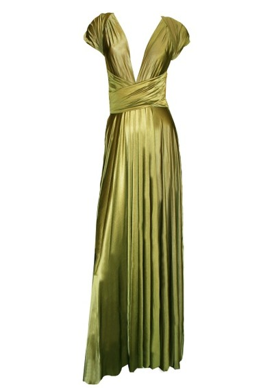 Butter By Nadia Long Satin Ball Gown - Olive main image