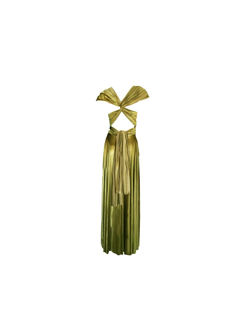 Long Satin Ball Gown - Olive main image