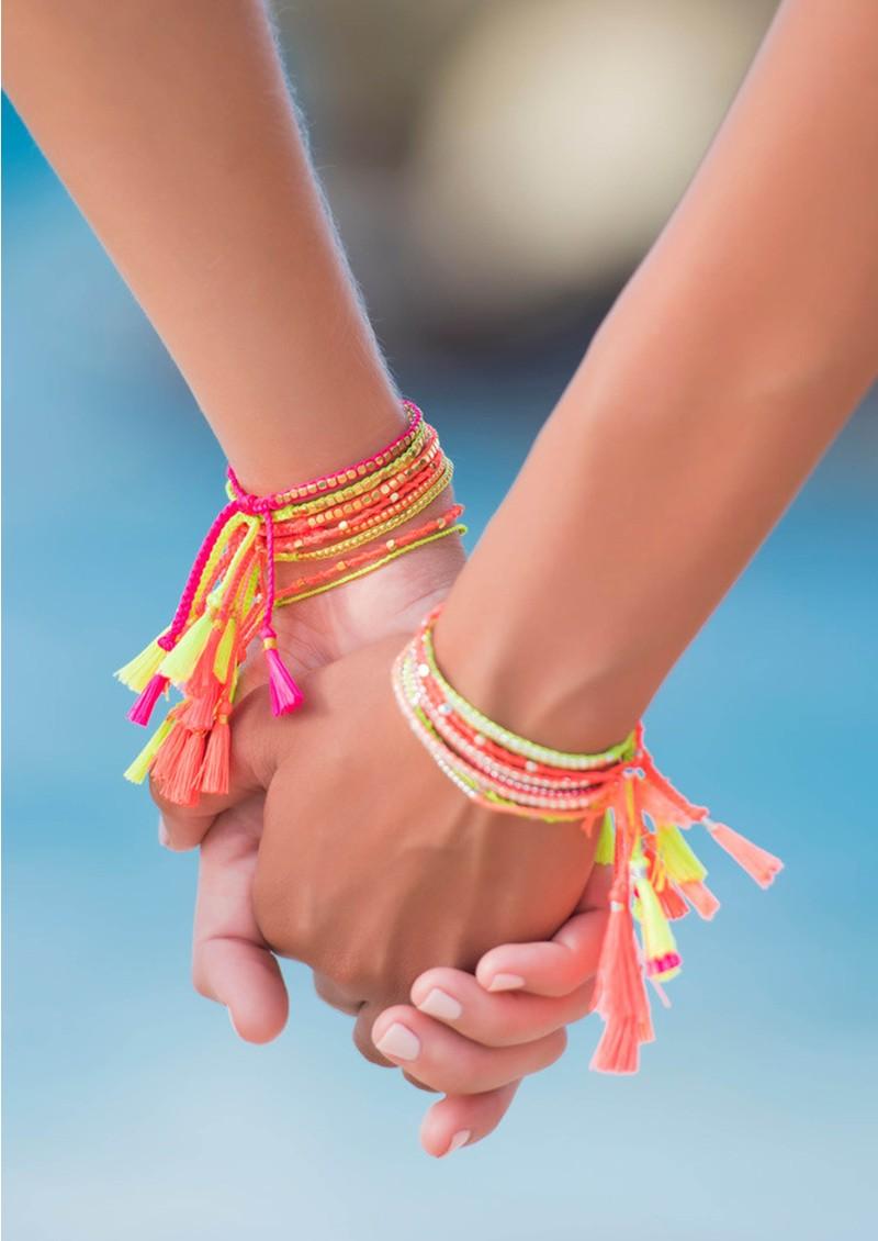 Jiya Jewellery St Maarten Bracelet - Gold & Neon Pink main image