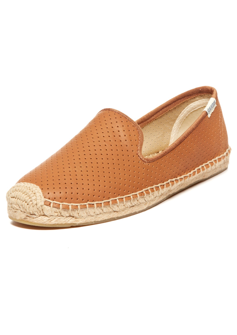 SOLUDOS Perforated Leather Smoking Slipper - Tan main image