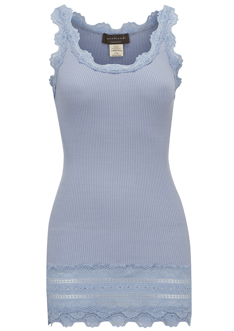Wide Lace Silk Blend Tank - Bluebell main image