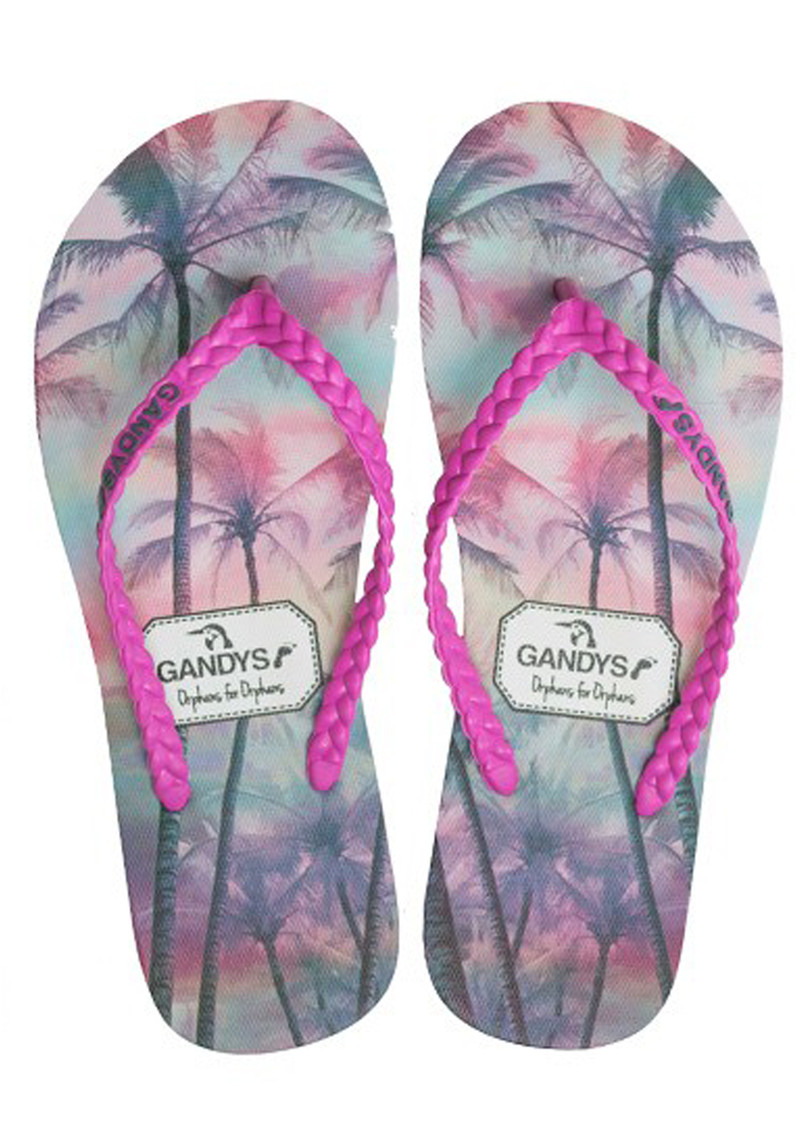 GANDYS Palm Tree Paradise Filp Flops - Pink main image
