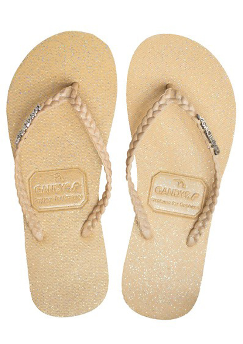 GANDYS Butterscotch Flip Flops - Nude Glitter main image