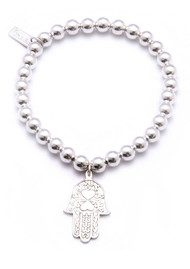 ChloBo Small Ball Bracelet with Hamsa Hand Charm - Silver