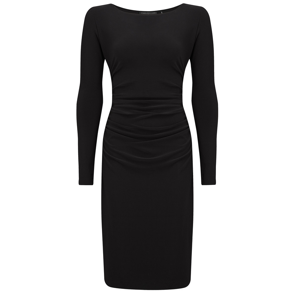 Long Sleeve Shirred Waist Dress - Black
