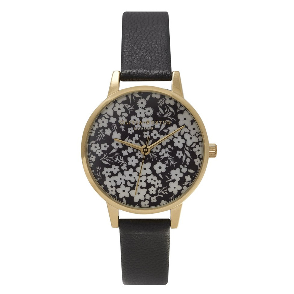 Monochrome Ditsy Floral Watch - Black & Gold