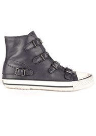 Ash Virgin Leather Buckle Trainers - Graphite