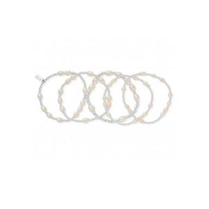 Stack of 5 Random Bracelets - Pearl & Silver
