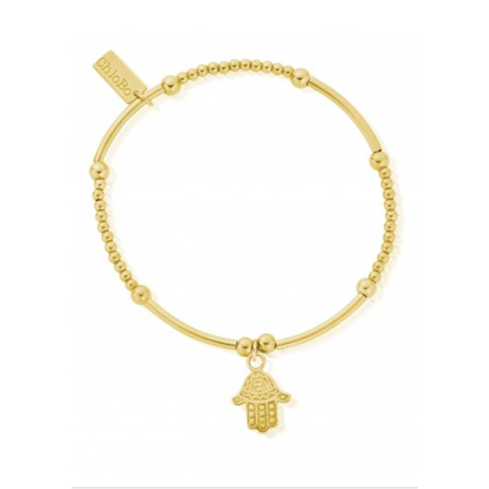 Cute Mini Decorated Hamsa Hand Bracelet - Gold