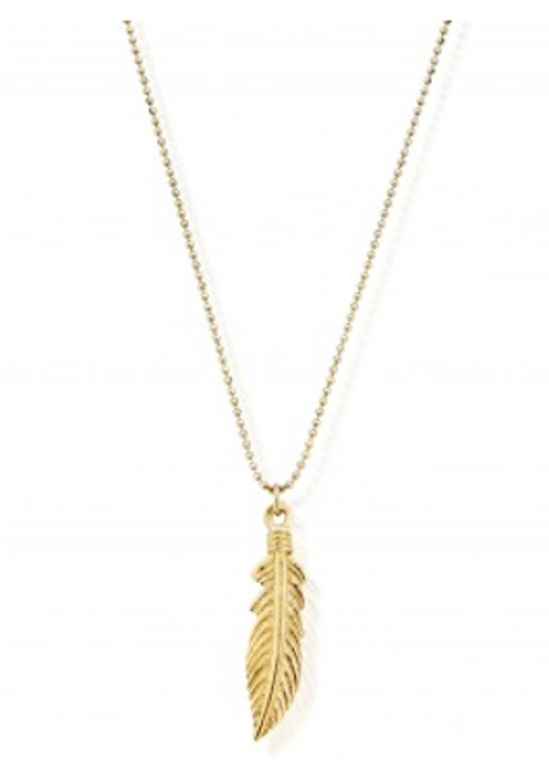 ChloBo Diamond Cut Chain Necklace With Feather Pendant - Gold main image