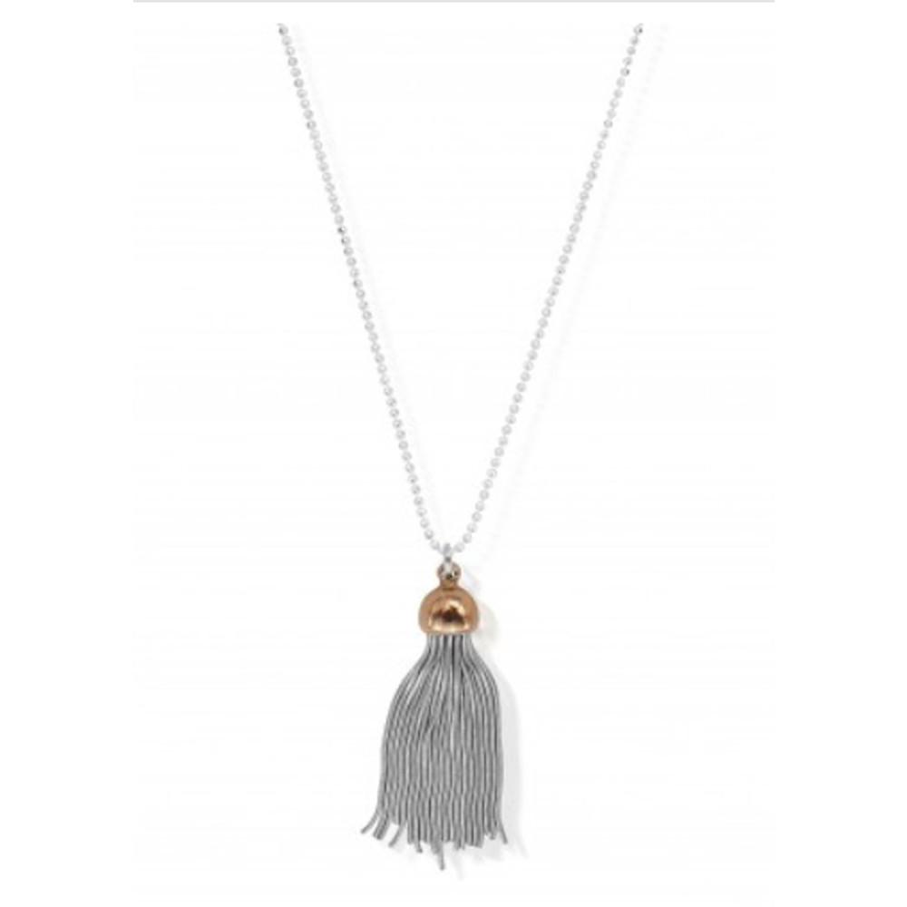 Diamond Cut Chain Necklace With Tassel Pendant - Silver