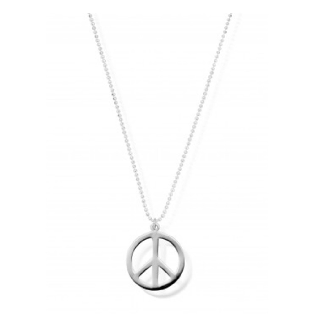 Diamond Cut Chain Necklace With Peace Pendant - Silver