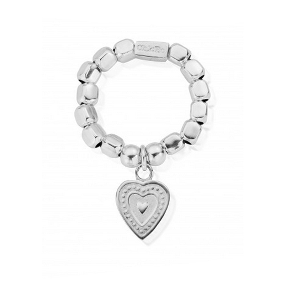 Chunky Decorated Heart Ring - Silver