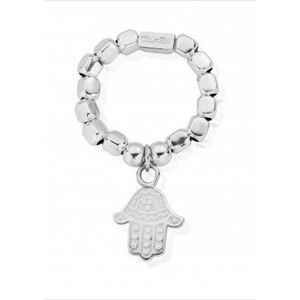 Chunky Decorated Hamsa Hand Ring - Silver