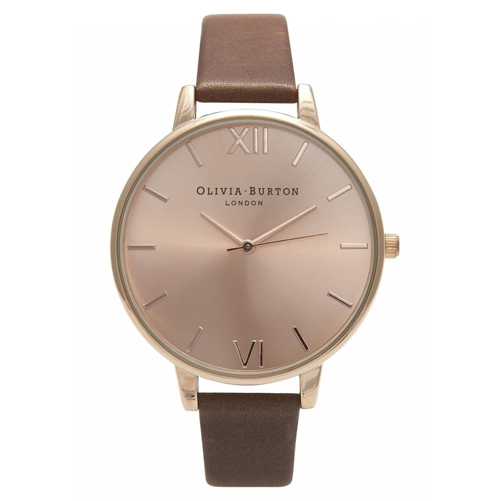 Big Dial Rose Gold Plated Watch - Brown