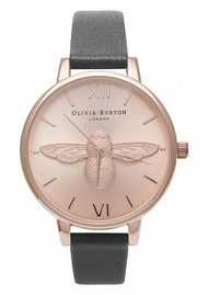 Olivia Burton Moulded Bee Watch - Black & Rose Gold