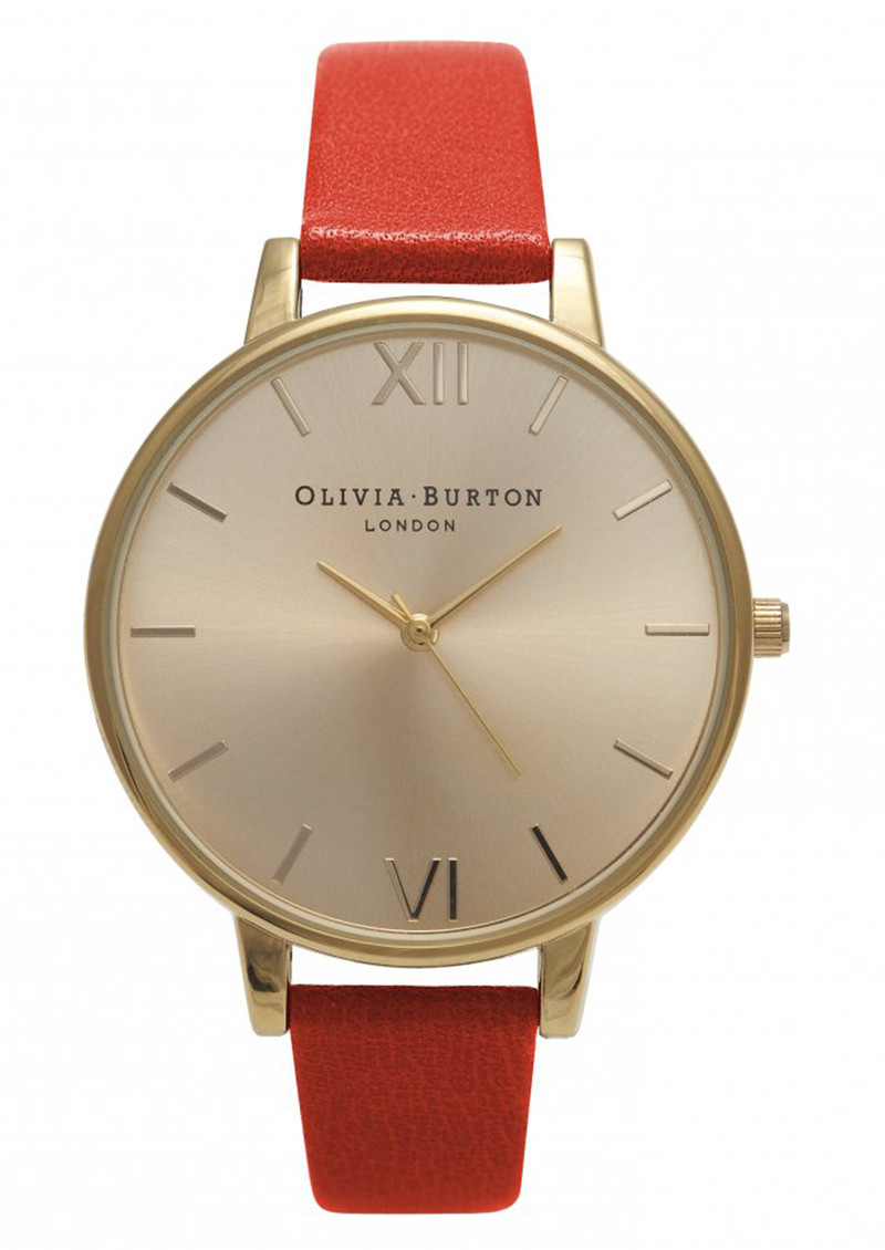 Olivia Burton Big Dial Watch - Flame Red & Gold main image
