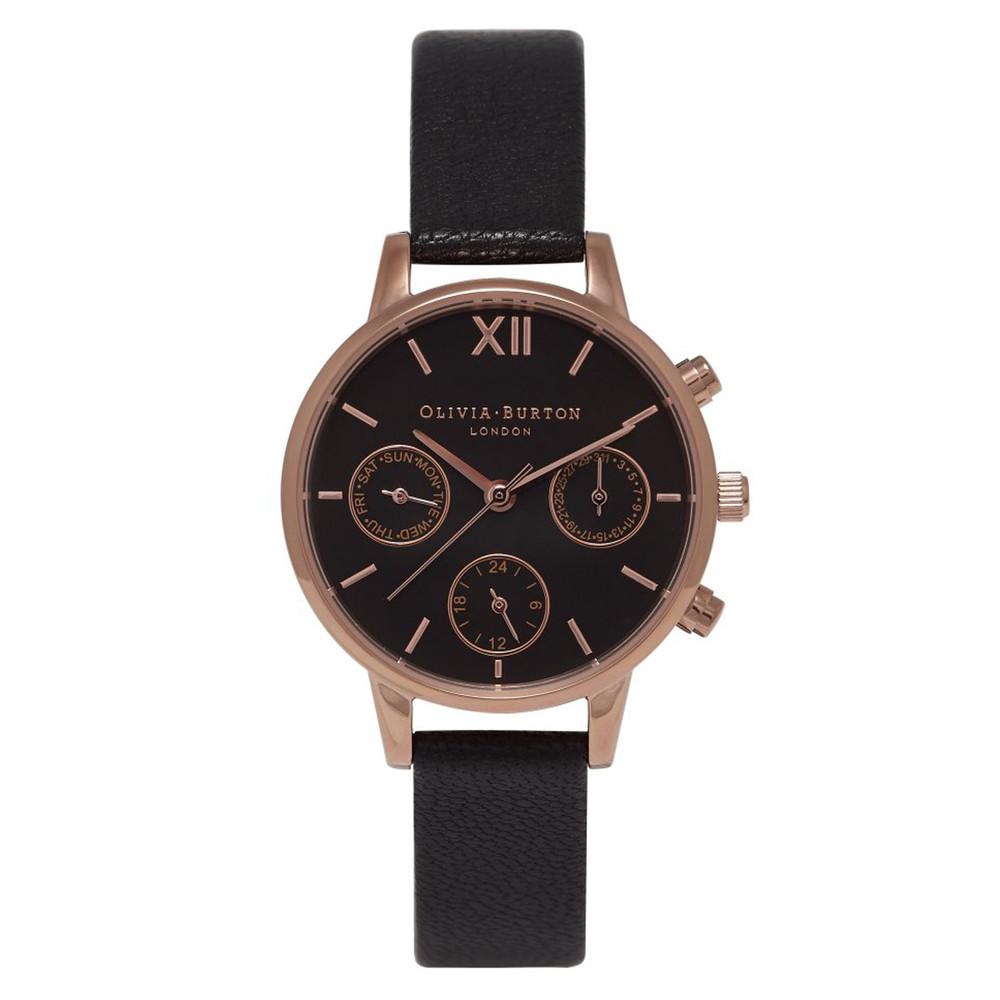 Midi Chrono Detail Watch - Black & Rose Gold