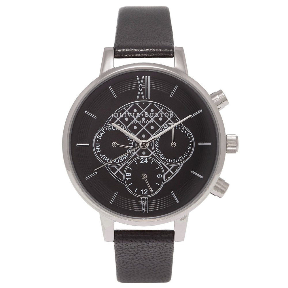 Chrono Detail Black Dial Watch - Black & Silver