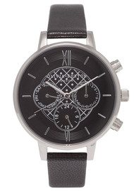 Olivia Burton Chrono Detail Black Dial Watch - Black & Silver