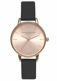 Olivia Burton Midi Dial Watch - Black & Rose Gold