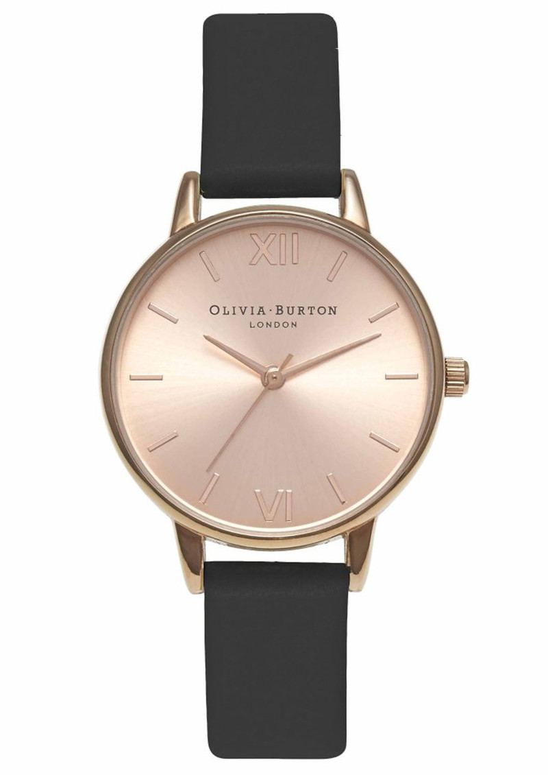 Olivia Burton Midi Dial Watch - Black & Rose Gold main image