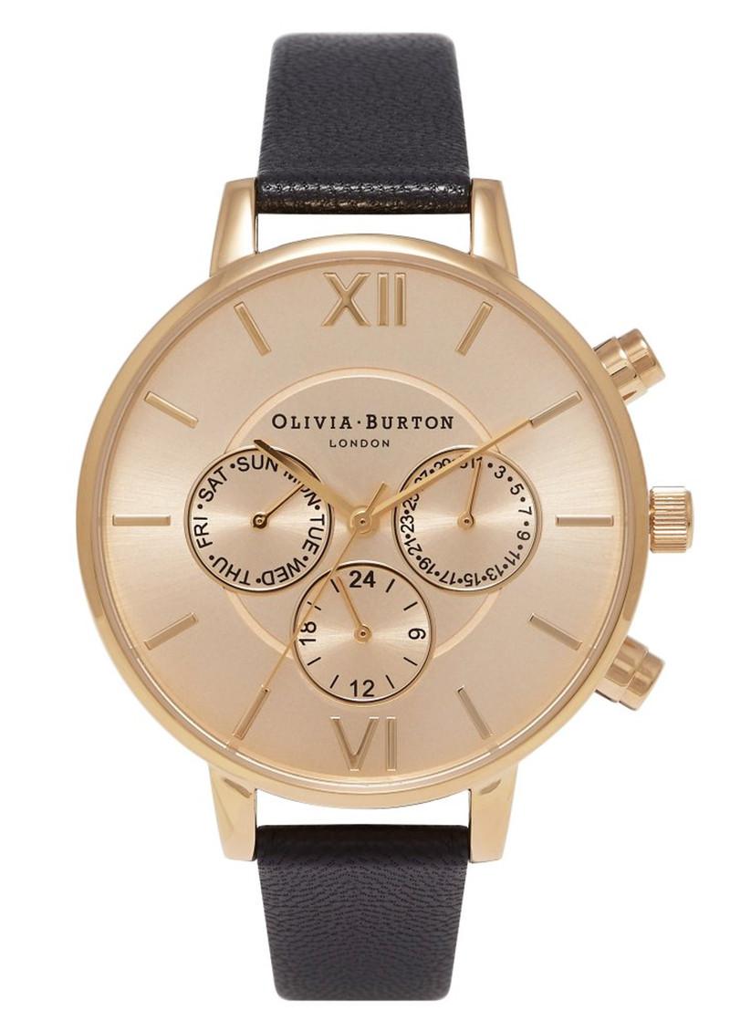 Olivia Burton Chrono Detail Sunray Watch - Black & Gold main image