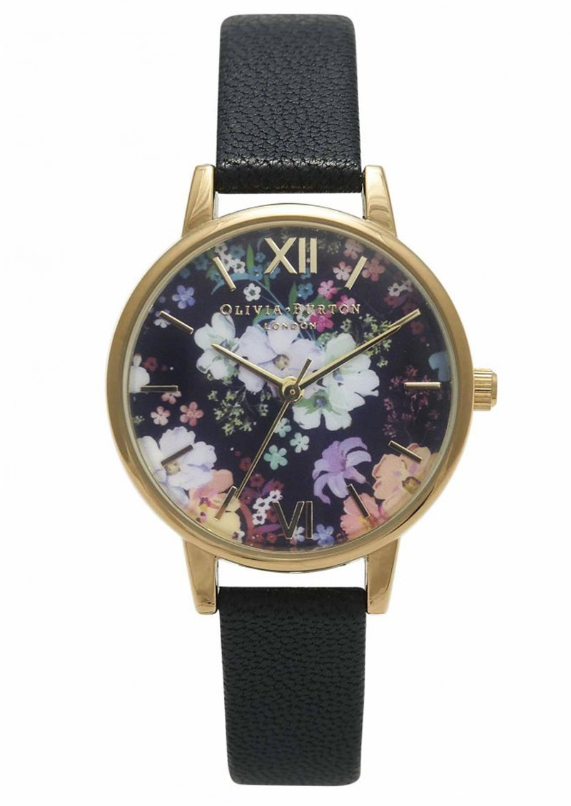 Olivia Burton Flower Show Floral Watch - Black & Gold main image