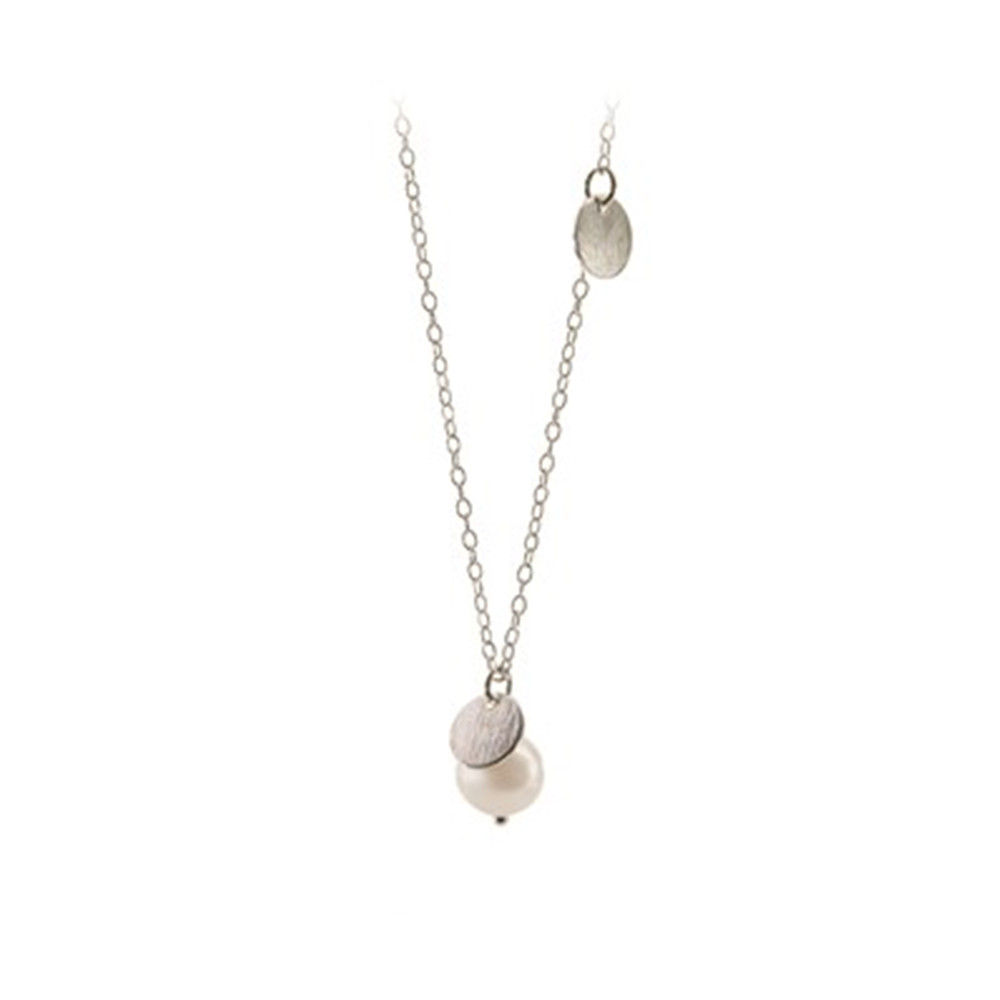 Freshwater Coin Necklace - Silver
