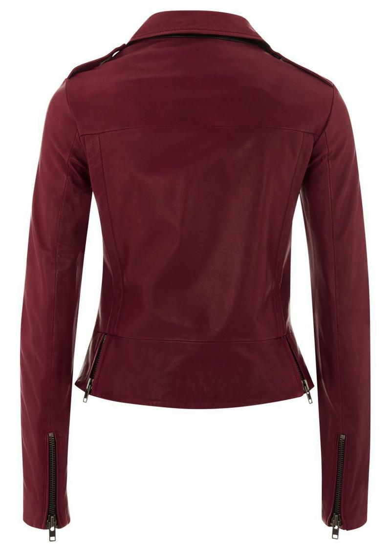Muubaa Vila Cropped Leather Biker Jacket - Cardinal Red main image
