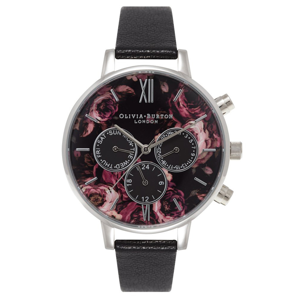Painterly Print Floral Multi Dial Watch - Black & Silver