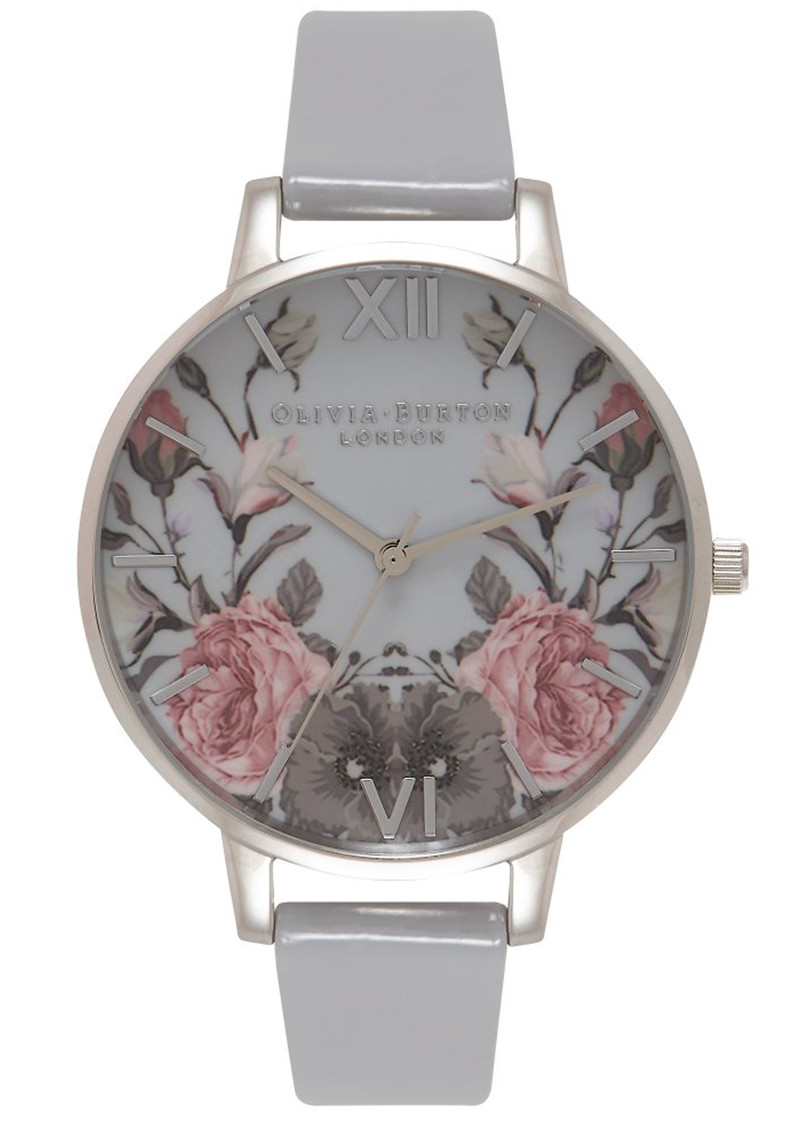 Olivia Burton Enchanted Garden Watch - Grey Patent & Silver main image