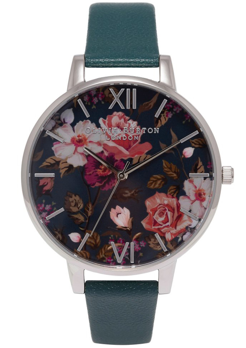 Winter Garden Floral Watch - Teal & Silver main image