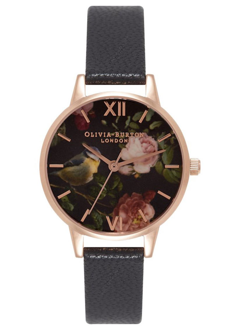 Olivia Burton Woodland Bird Watch - Black & Rose Gold main image