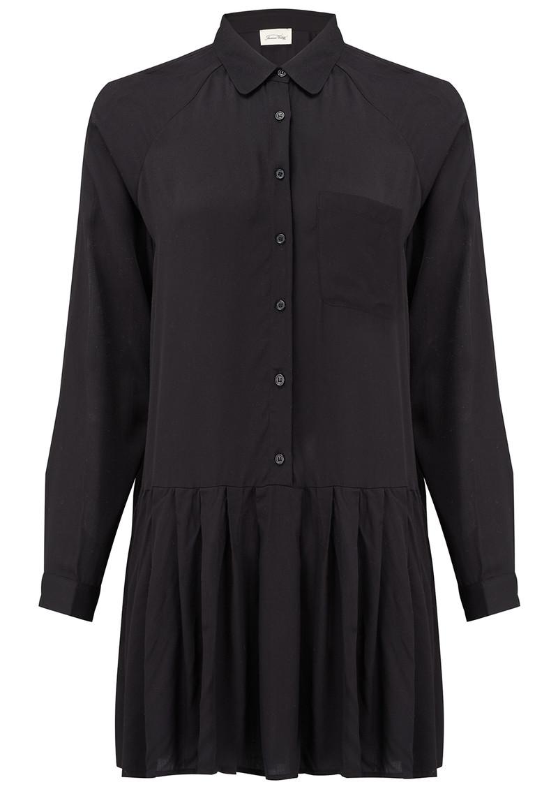 American vintage valisville pleated shirt dress black for Black pleated dress shirt