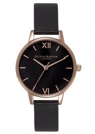 Olivia Burton Midi Dial Black Dial Watch - Black & Rose Gold