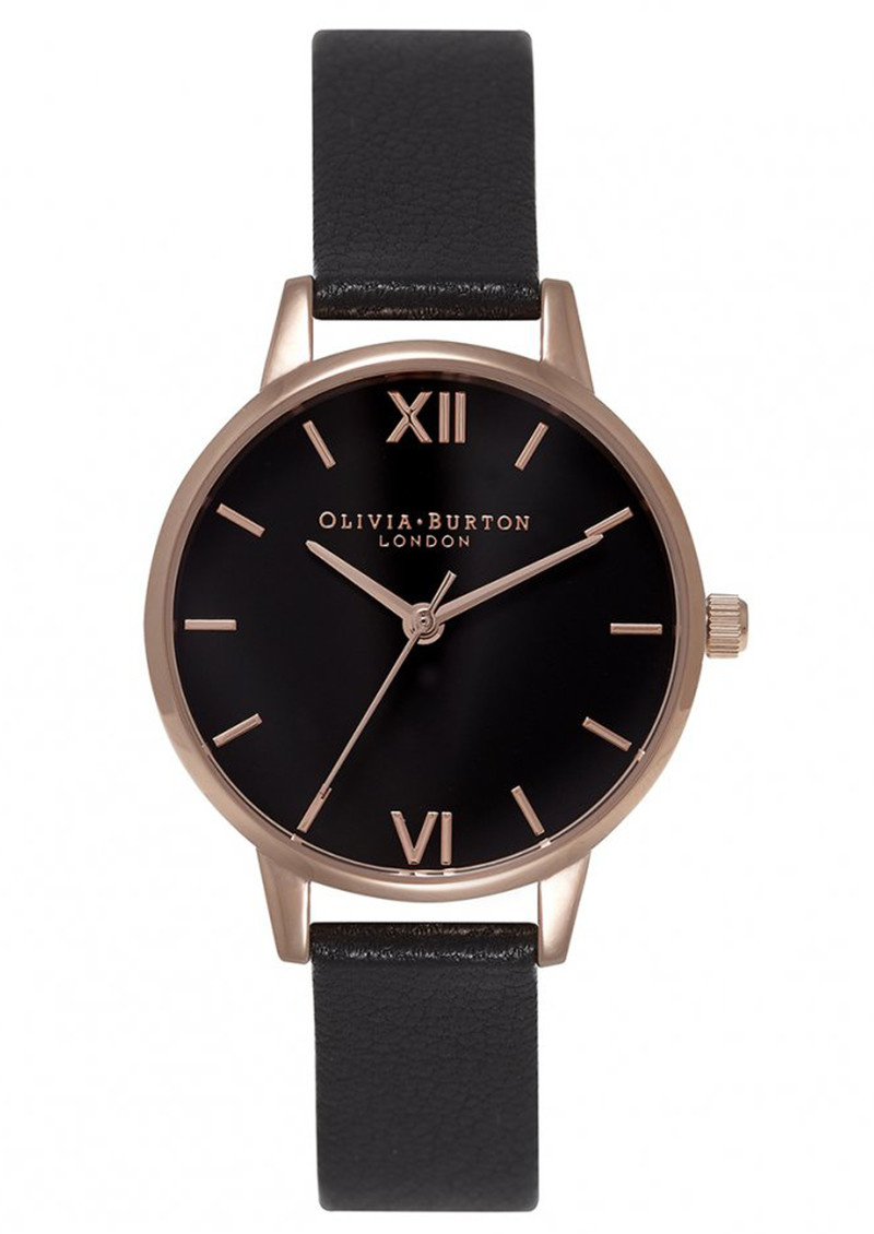 Midi Dial Black Dial Watch - Black & Rose Gold main image