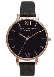 Olivia Burton Big Black Dial Watch - Black & Rose Gold