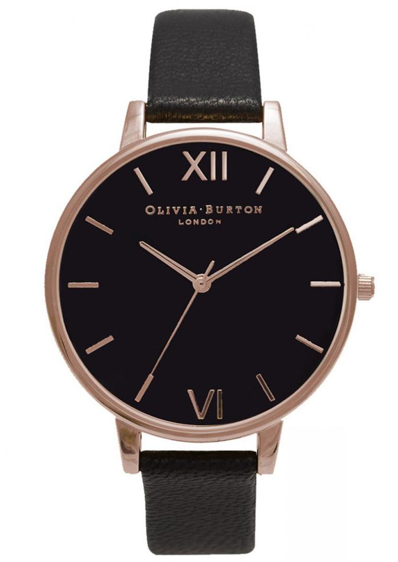 Olivia Burton Big Black Dial Watch - Black & Rose Gold main image