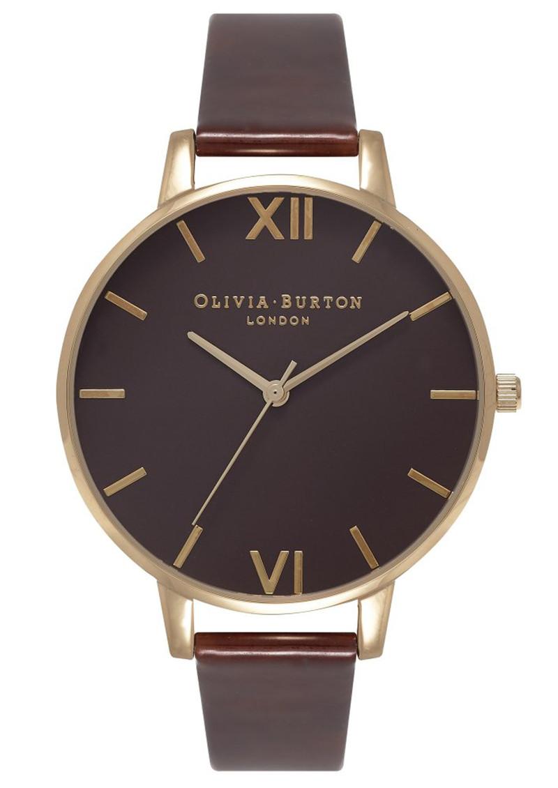 Olivia Burton Big Brown Dial Watch - Tortoise Patent & Gold main image