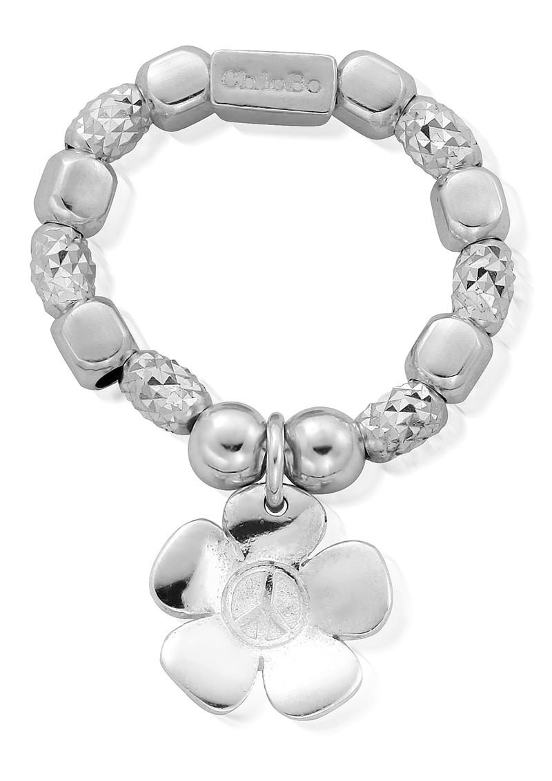 ChloBo Sparkle Peace Flower Ring - Silver main image