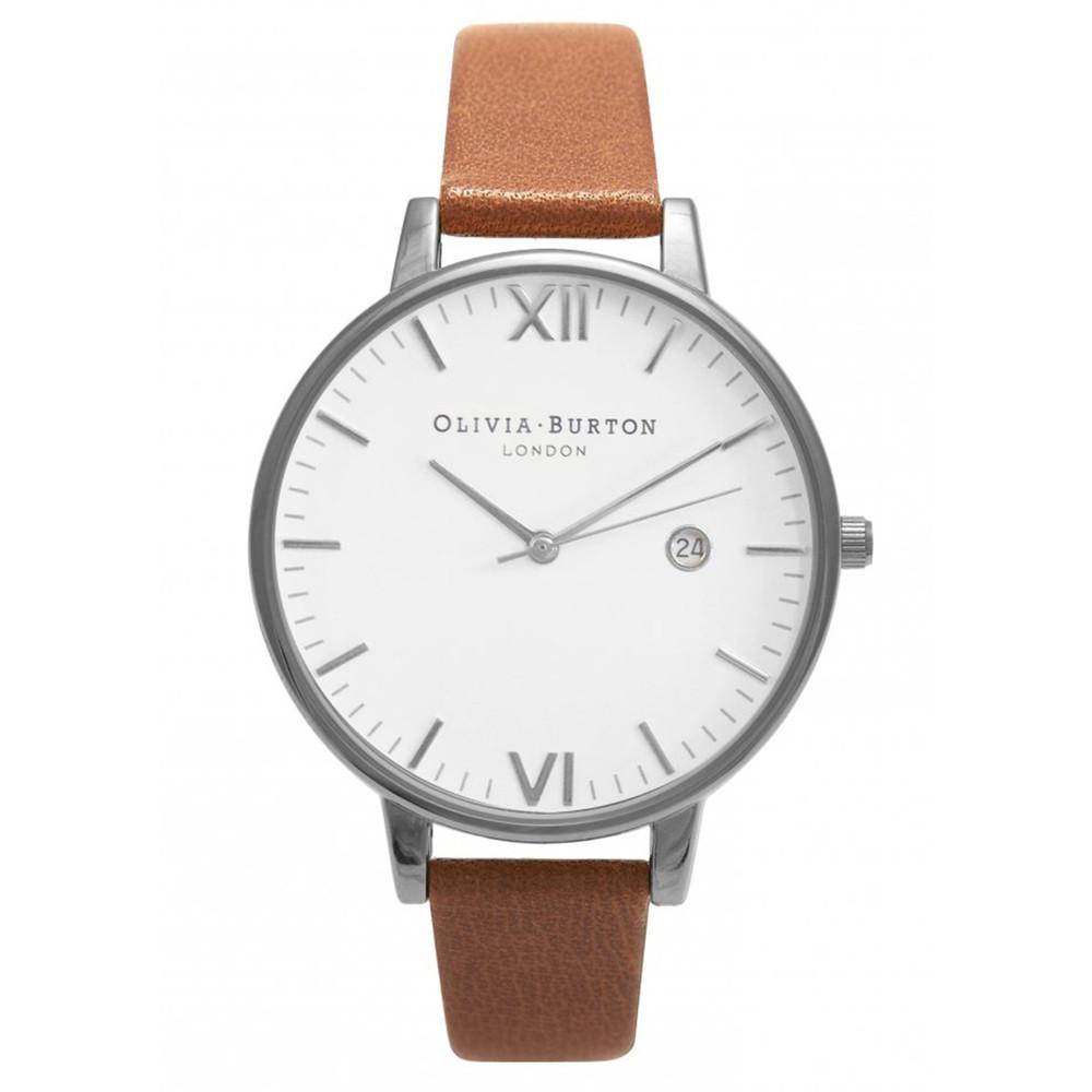 Timeless White Face Watch - Tan & Silver
