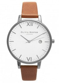 Olivia Burton Timeless White Face Watch - Tan & Silver