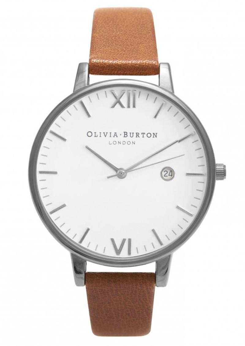 Olivia Burton Timeless White Face Watch - Tan & Silver main image
