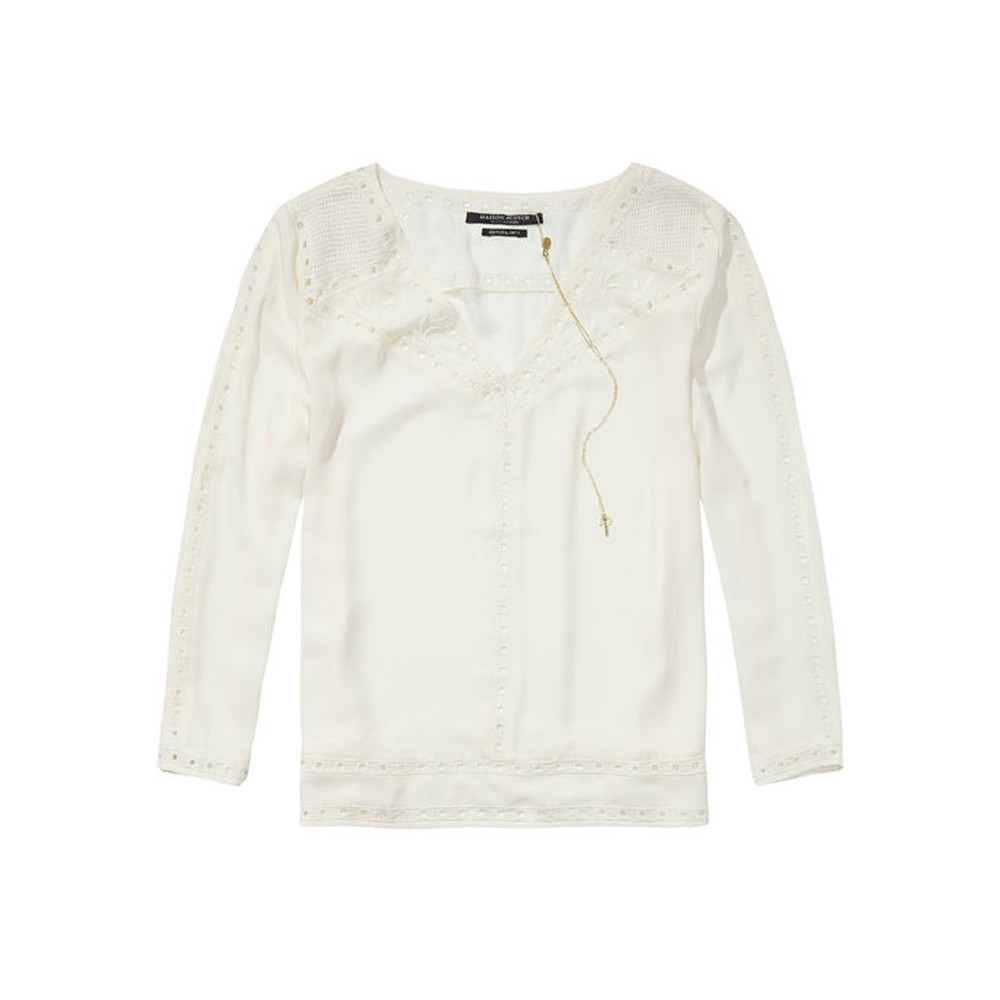 Feminine Cut Out Blouse - Off White
