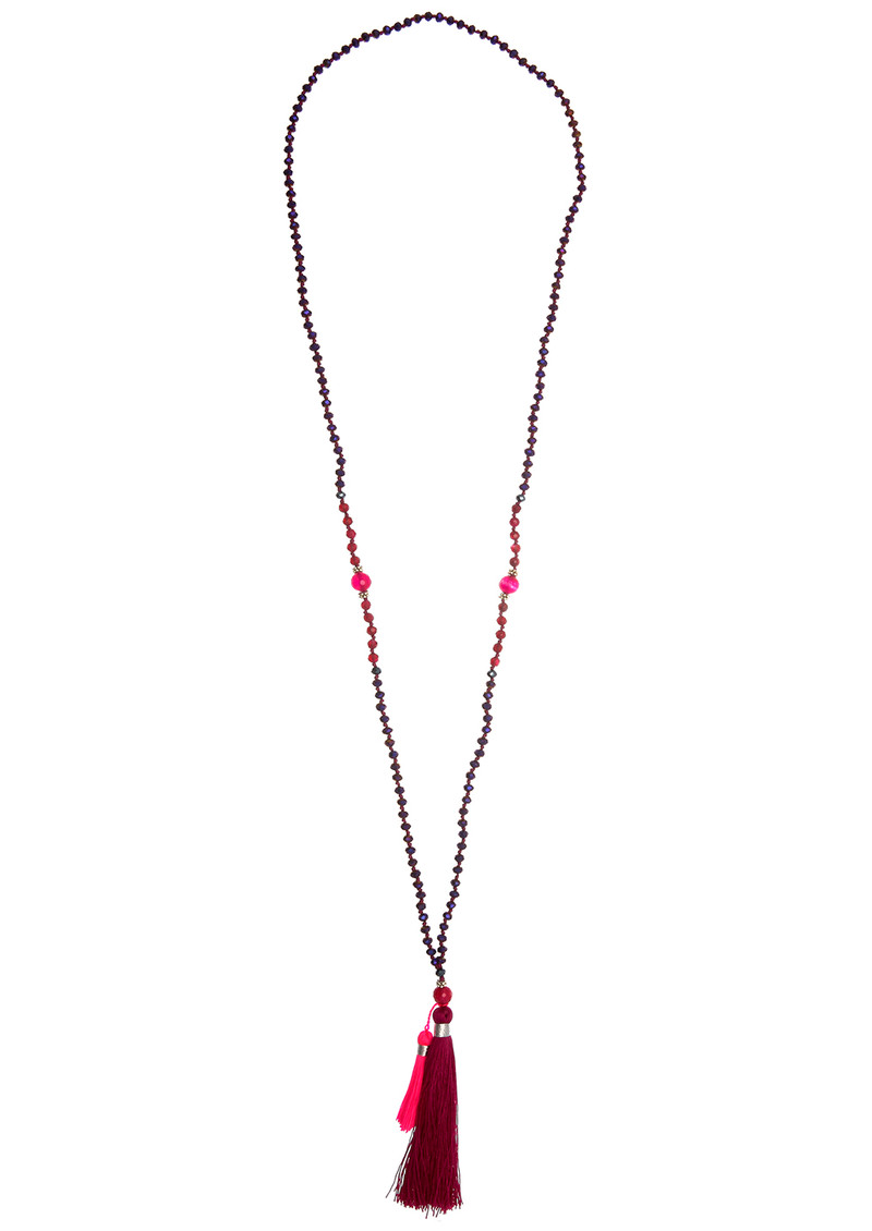 TRIBE + FABLE Double Tassel Necklace - Burgundy & Pink main image