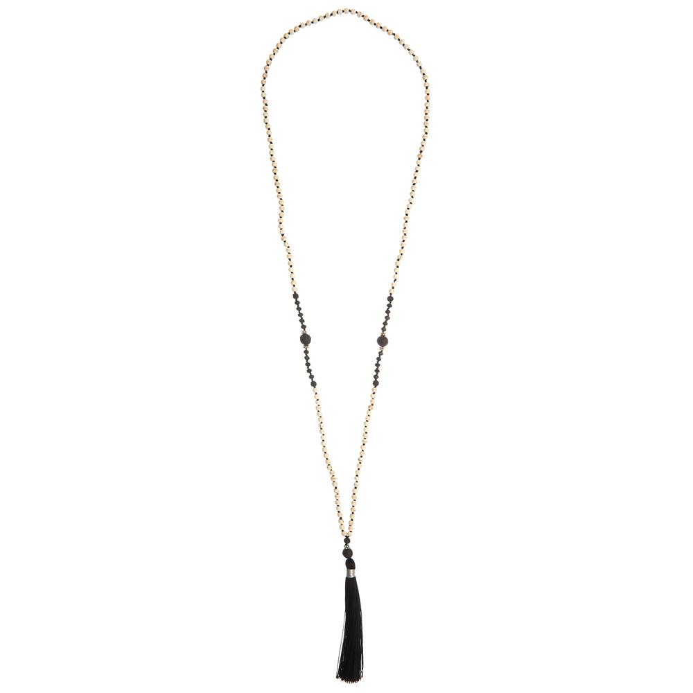 Single Tassel Necklace - Black & Cream